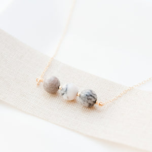 Gold Filled Pink and Grey Jasper Necklace