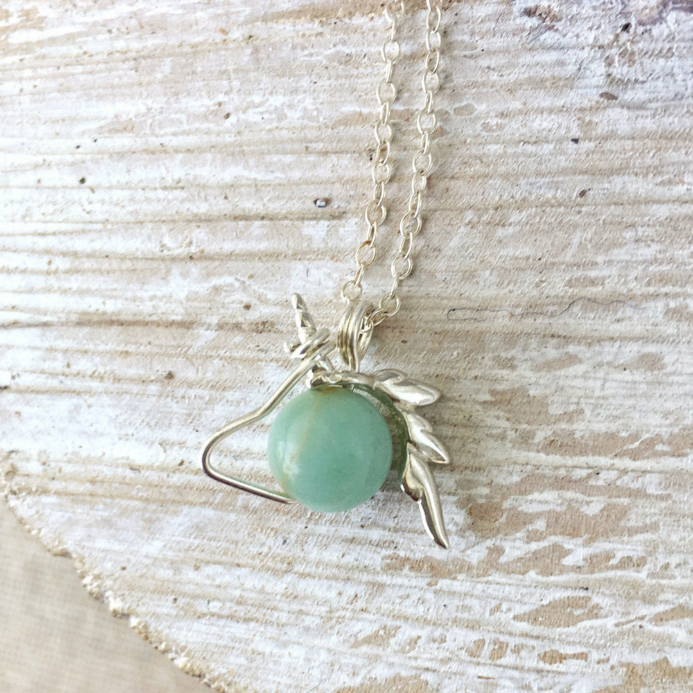 Amazonite Crystal Unicorn Charm Necklace - Italian Sterling Silver