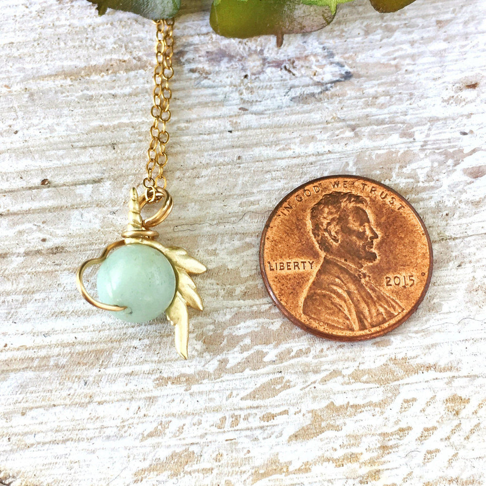 Blue Amazonite Crystal Unicorn Charm Necklace - 14K Gold DesignsbyNatureGems
