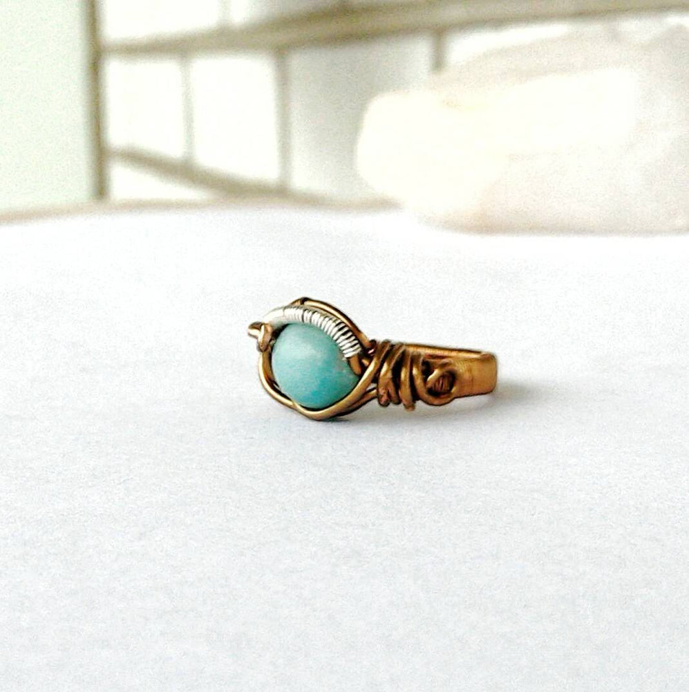 Blue Amazonite Healing Crystal Statement Ring in Antique Bronze DesignsbyNatureGems