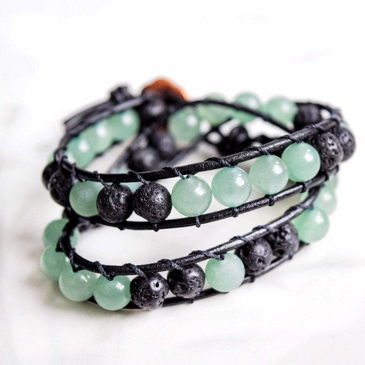 Green Aventurine Genuine Leather Wrap Bracelet