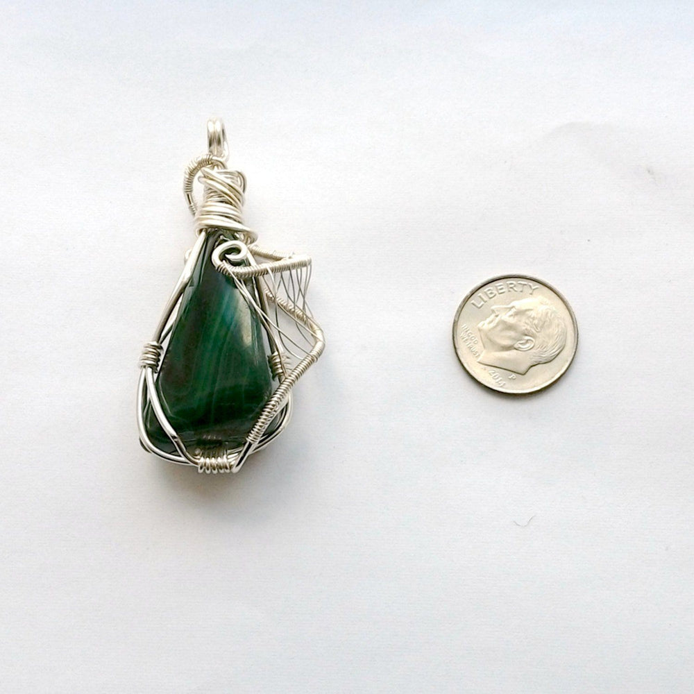 Malachite Pendant Sterling Silver Necklace DesignsbyNatureGems
