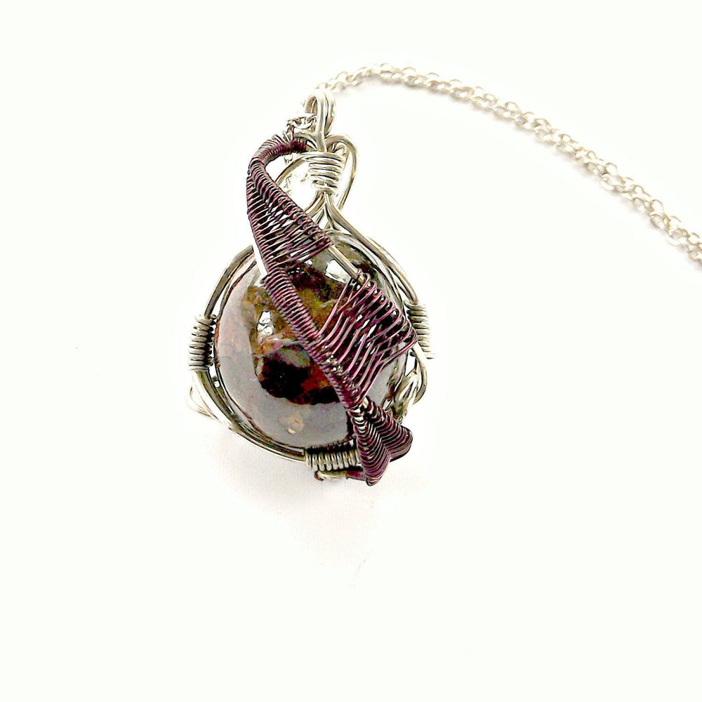 Men's Raw Garnet Crystal Necklace  - Wire Wrapped January Birthstone Necklace