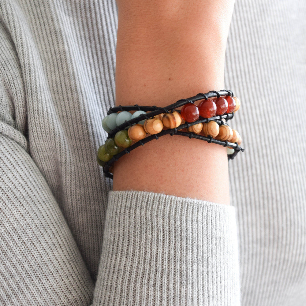 Mixed Crystal Wrap Bracelet with Olive Wood