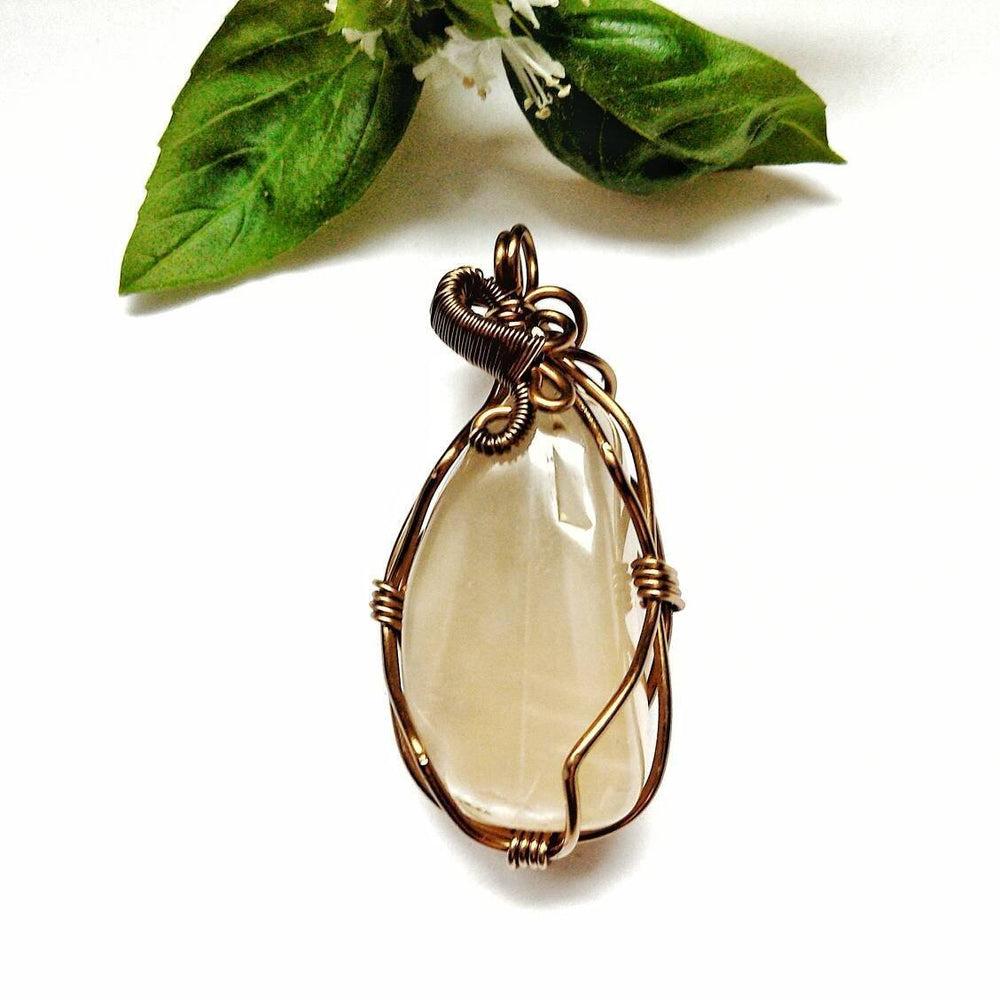 Natural Moonstone Necklace in Antique Bronze - June Birthstone