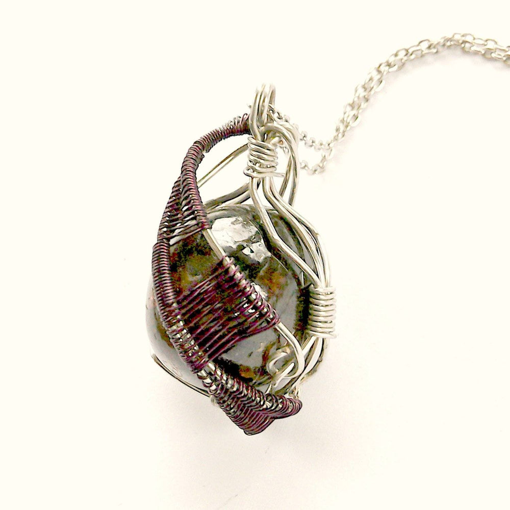 Raw Garnet Crystal Necklace - Wire Wrapped January Birthstone Pendant