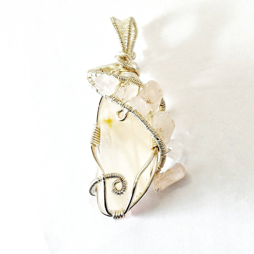 Raw Moonstone And Rose Quartz Necklace in Bright Silver - June Birthstone Jewelry