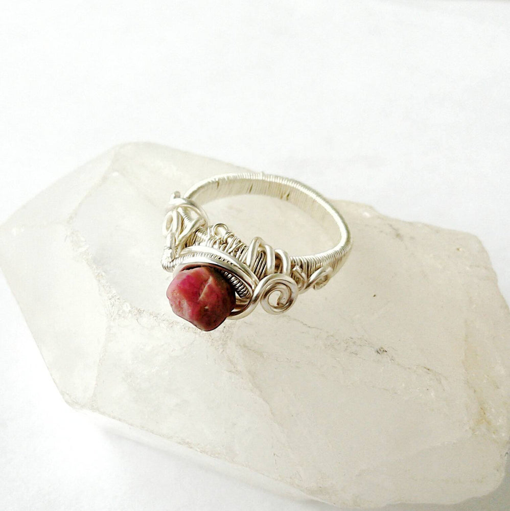Raw Ruby Crystal Engagement Ring in Sterling Silver - Pink Sapphire Ring DesignsbyNatureGems