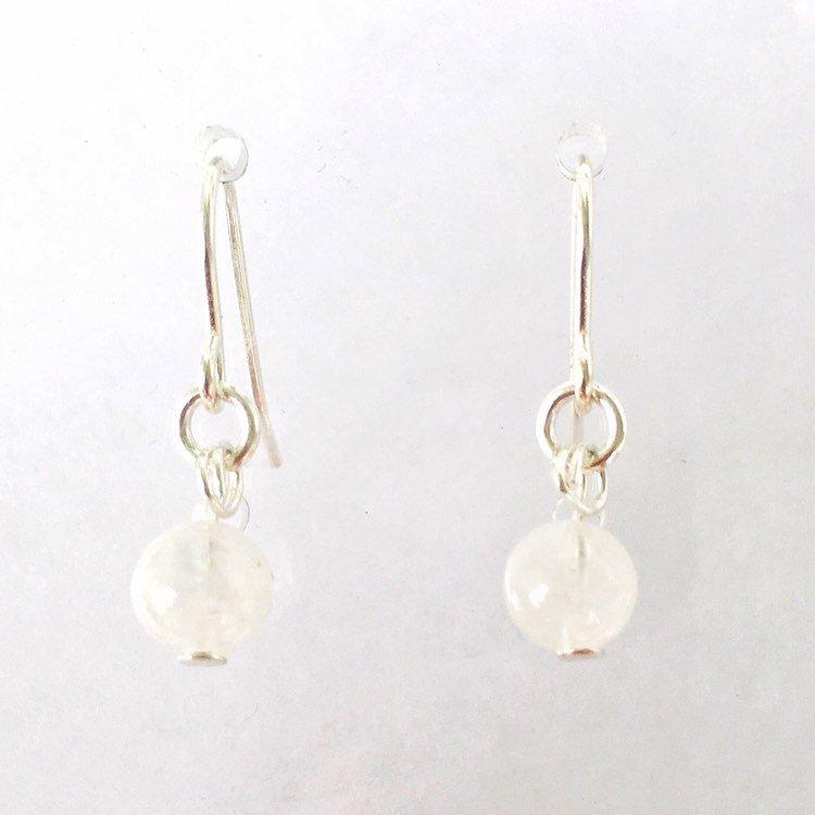 Silver Rainbow Moonstone Drop Earrings - June Birthstone