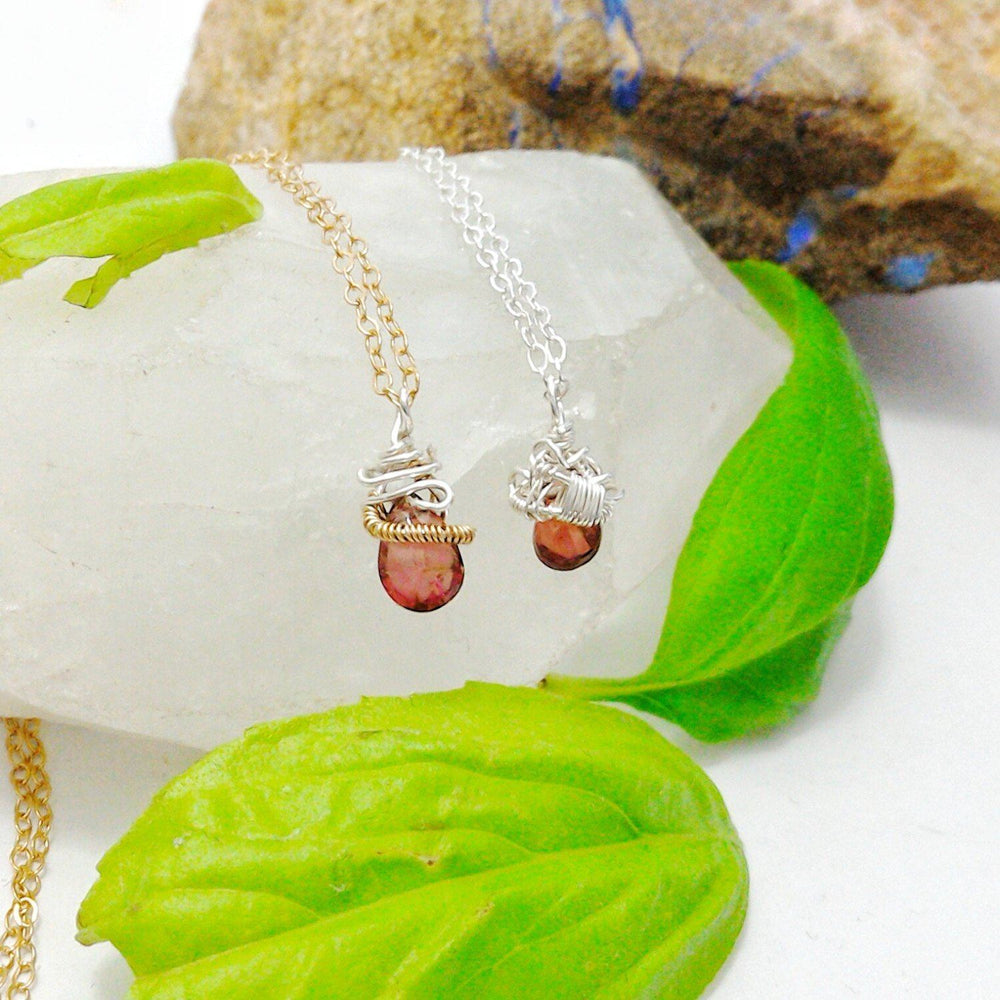 Sterling Silver and 14k Gold Garnet Necklace- January Birthstone