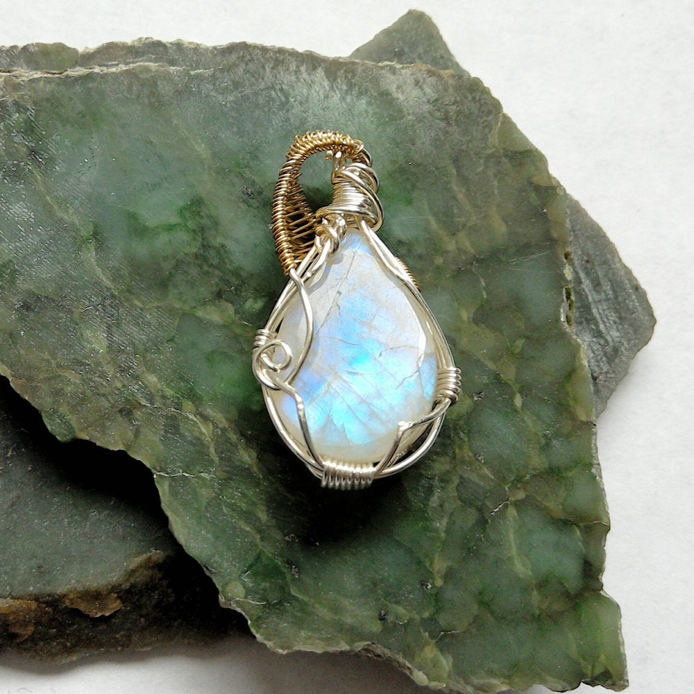 Sterling Silver Large Rainbow Moonstone Necklace - June Birthstone Jewelry