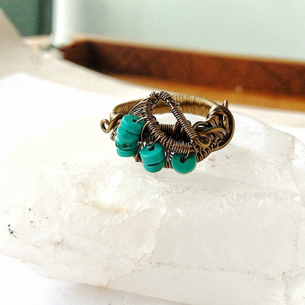 Turquoise Healing Crystal Ring - December Birthstone DesignsbyNatureGems