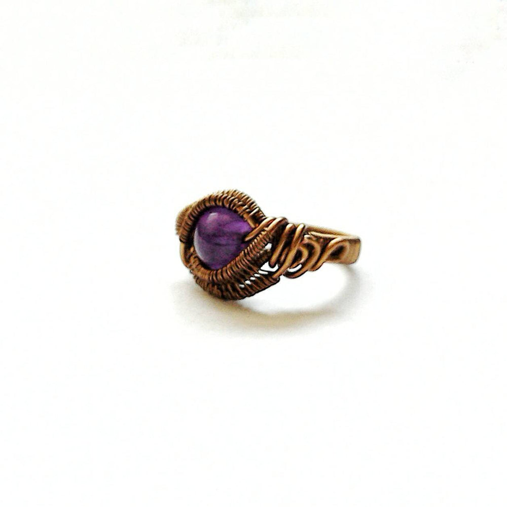 Wire Wrapped Amethyst Ring - February Birthstone DesignsbyNatureGems