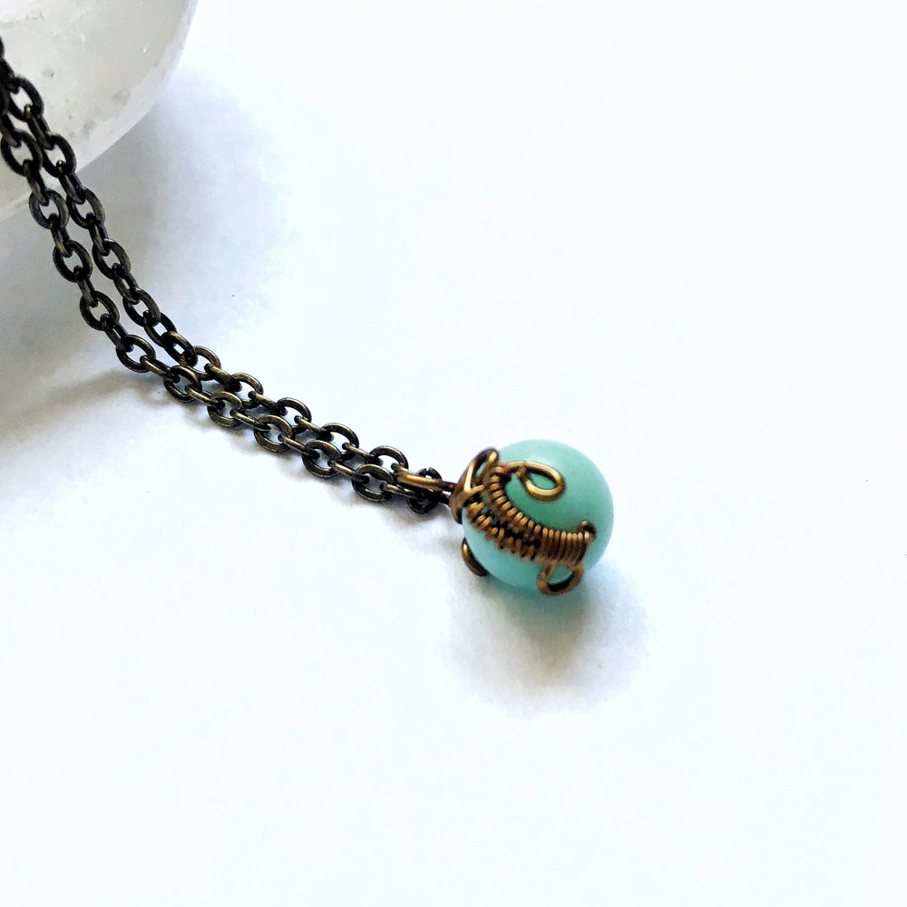 Wire Wrapped Round Amazonite Healing Crystal Charm Necklace