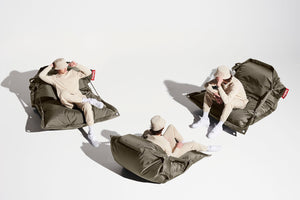 Taupe Fatboy Buggle-Up Bean Bag Chair with Model in Different Positions
