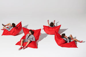 Red Fatboy Original Bean Bag Chair with Model in Different Positions