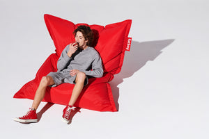 Red Fatboy Original Bean Bag Chair with Model