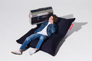 Navy Blue Fatboy Outdoor Bean Bag with Model