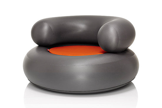Fatboy CH-AIR Inflatable Chair - Anthracite with Orange Pillow