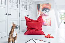 Load image into Gallery viewer, Red Fatboy Original Slim Teddy Bean Bag Chair in Room