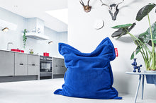 Load image into Gallery viewer, Royal Blue Fatboy Original Slim Teddy Bean Bag Chair in Room