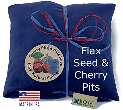 KOYA Naturals Soft Velvet Flax Seed & Cherry Pit/Stone Pillow Heating Pad Microwavable - Moist Heat Pack Pad for Neck, Muscles, Joints, Stomach Pain, Menstrual Cramps