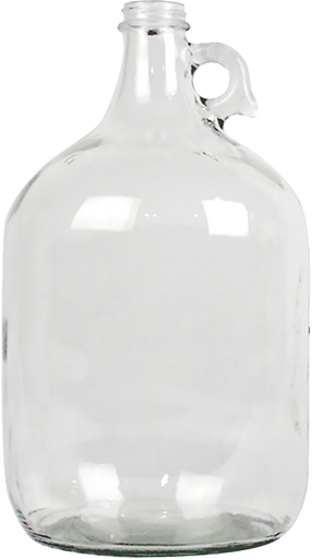 1 Gallon Glass Jug, Clear, 38 mm Screw Top - Case/4