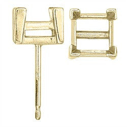 14 Karat Yellow or White Real Gold Square Screw-Back Earring w/ V-Prongs