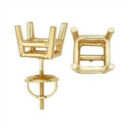 14 Karat Yellow or White Real Gold Double Wire Princess-Cut Screw Back Earring with Round Prongs & Backs