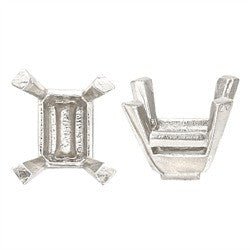 14k White Emerald Cut Setting No Peg