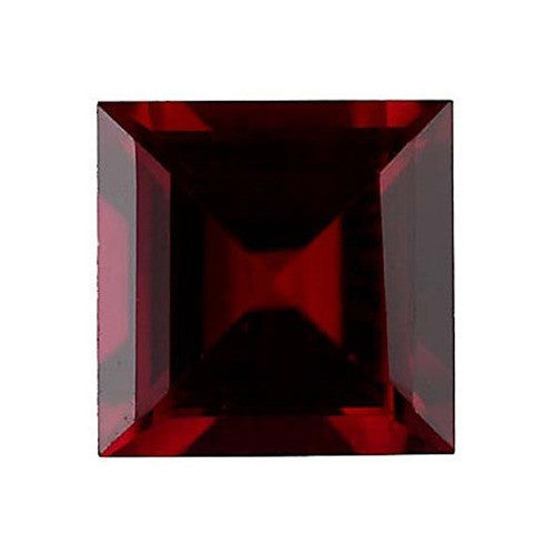 Lab Created and Square Shaped Garnet Gem.
