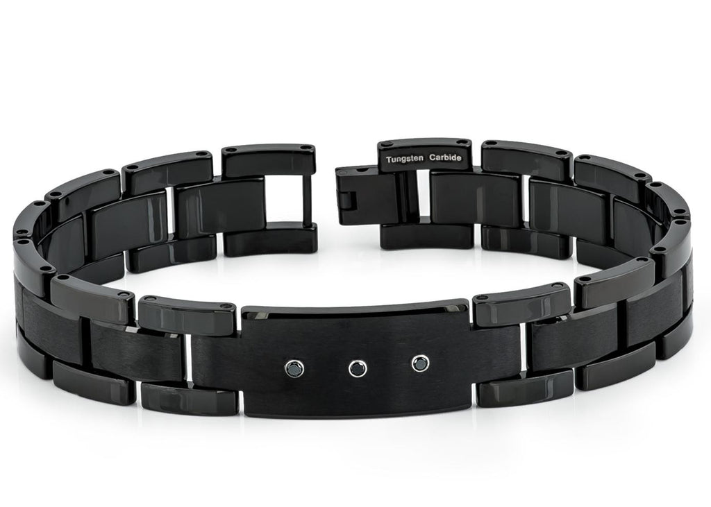 Black Plated Enamel Tungsten Bracelet