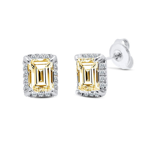Dazzle Square & Cubic Zirconia Stud Earrings