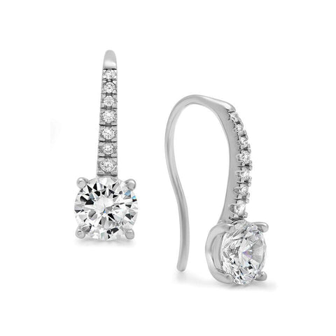 Double Round Cubic Zirconia Chandelier Earrings