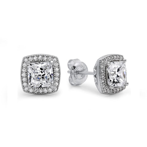 Two Tone & Crown Like CZ Earrings