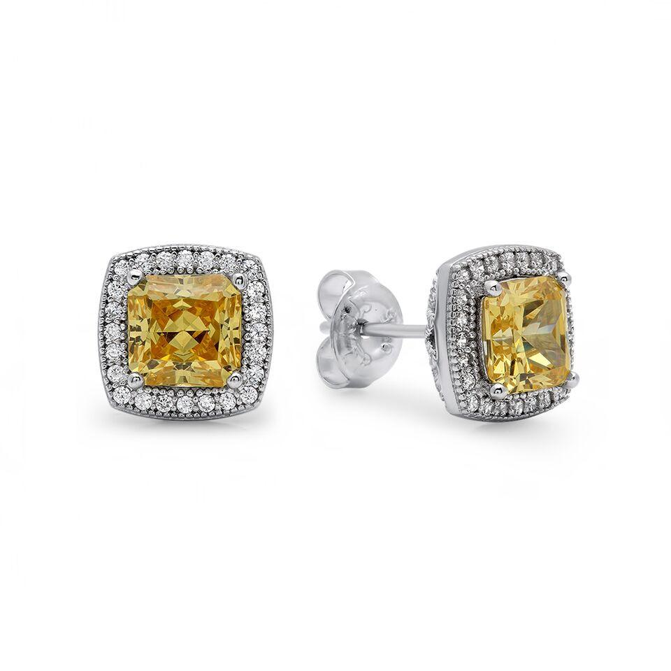 Canary Princess Cut and Stud Earrings