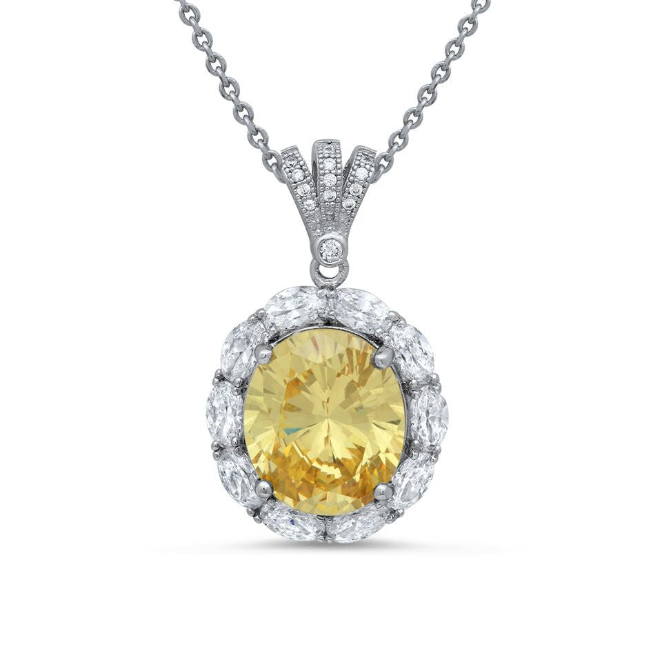 Yellow Stone and Oval Cut Pendant
