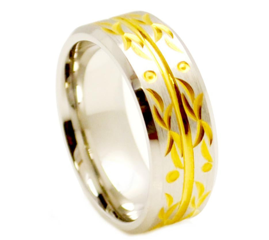 9mm Yellow Gold Carved Flourish with Beveled Edge Grooved Center Cobalt Ring