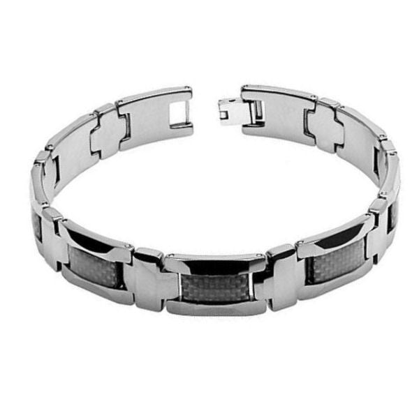 High Polished with Black Carbon Fiber Inlay Tungsten Bracelet