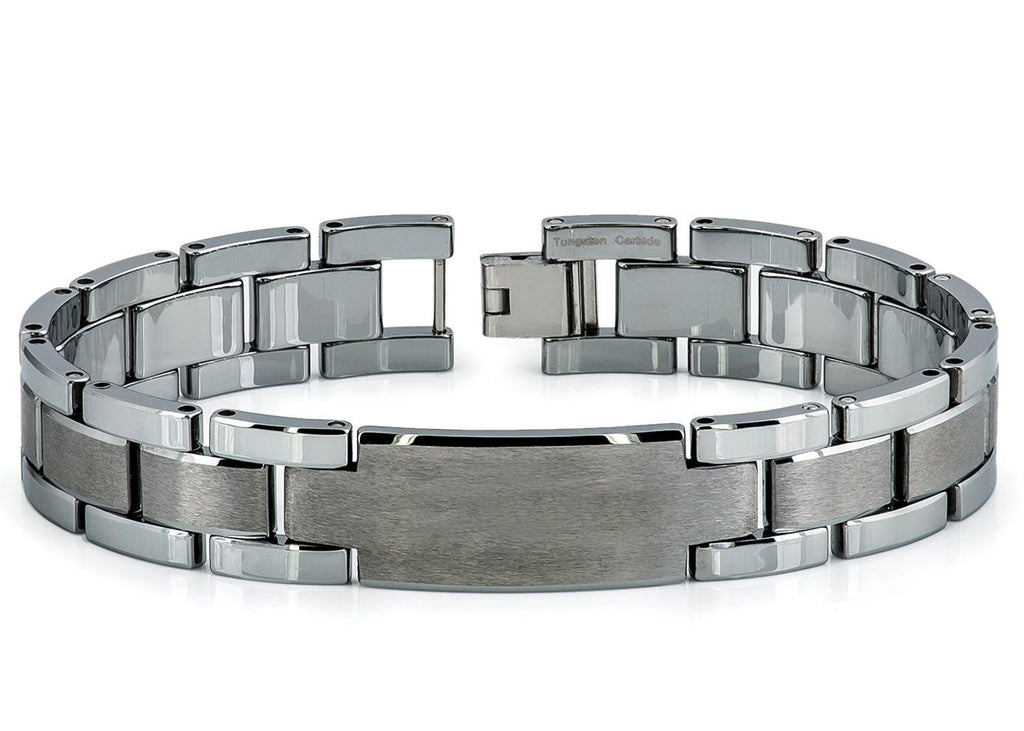 TUNGSTEN BRACELET 33 High Polish and Brushed ID Bracelet with 3 CZ Stones