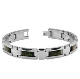 Green & Black Carbon Fiber Inlay Tungsten Bracelet
