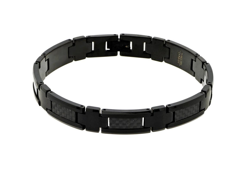 Black Enamel Plated Tungsten Carbide with Black Carbon Fiber Inlay