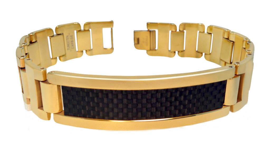 Yellow Gold Plated Tungsten Bracelet with Black Carbon Fiber Inlay