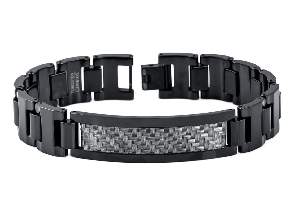 High Polish Black Enamel Tungsten Bracelet with Charcoal Gray Carbon Fiber Inlay