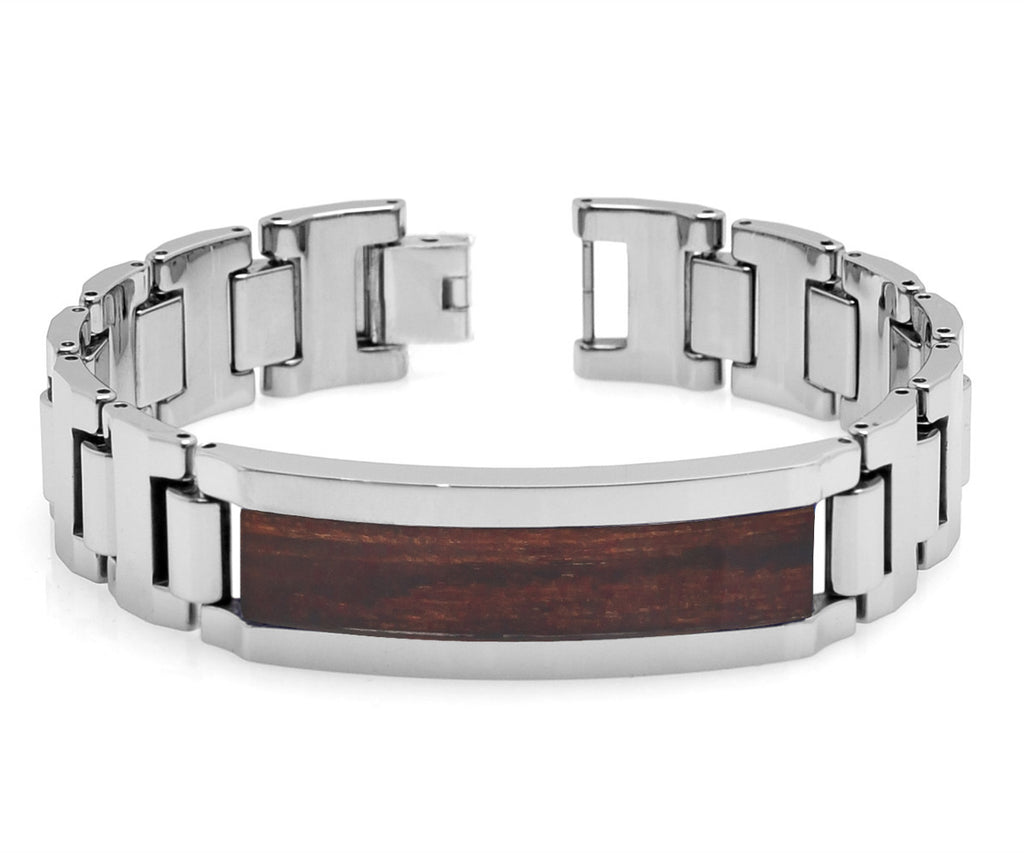 Heavy Designed Tungsten Bracelet with Santos Rosewood Inlay