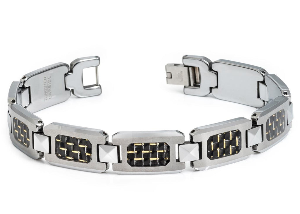 H-link Tungsten Bracelet Mixed with Black & Gold Carbon Fiber Inlay