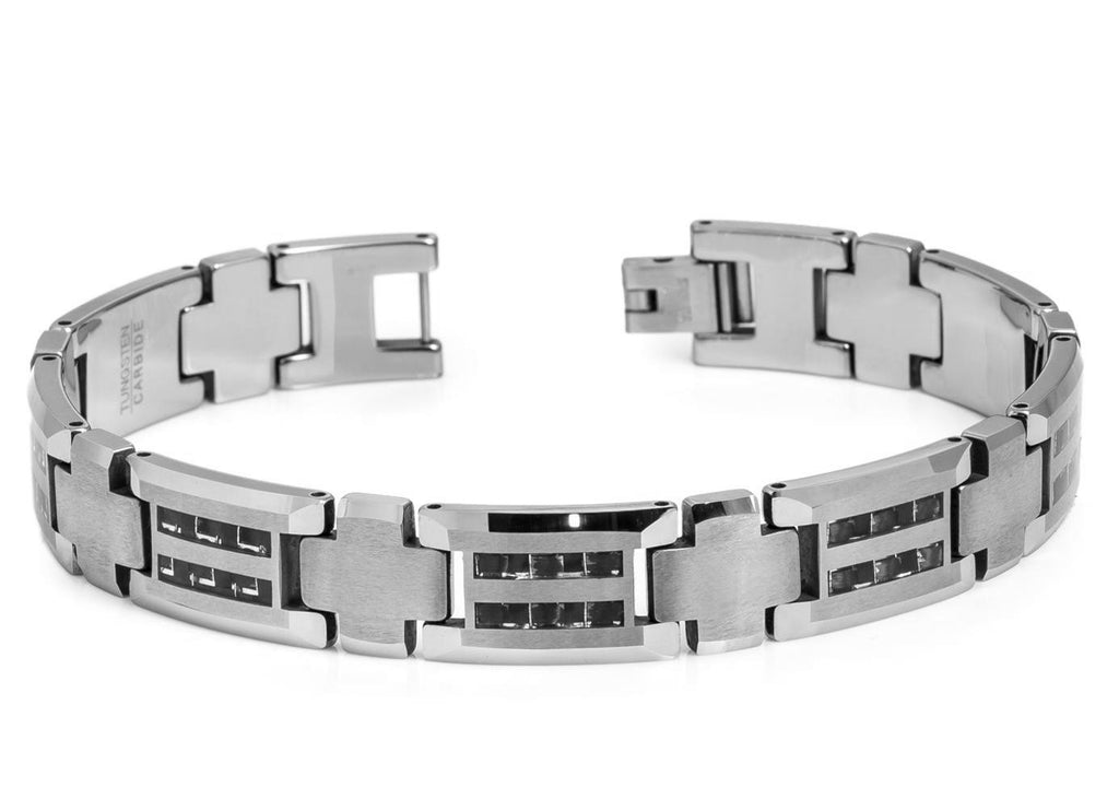 Striped Black with Silver Carbon Fiber Inlay Tungsten Bracelet
