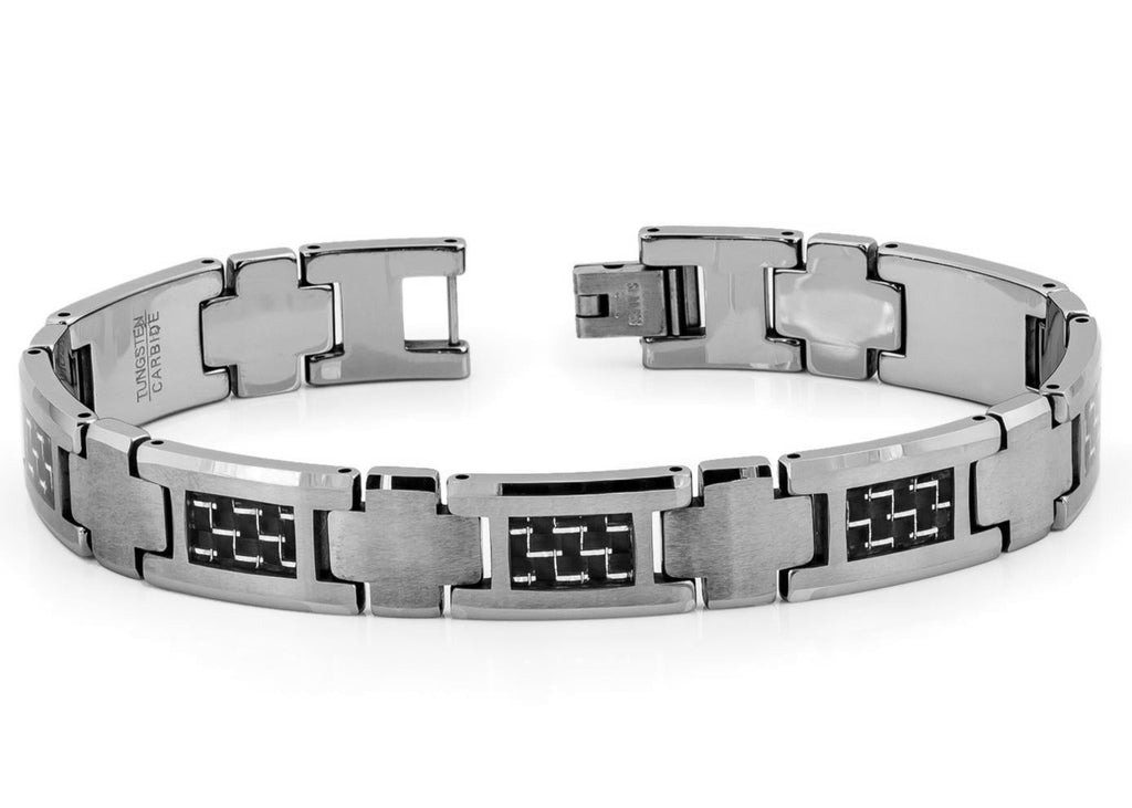 Black Square-shaped with Silver Carbon Fiber Inlay Bracelet
