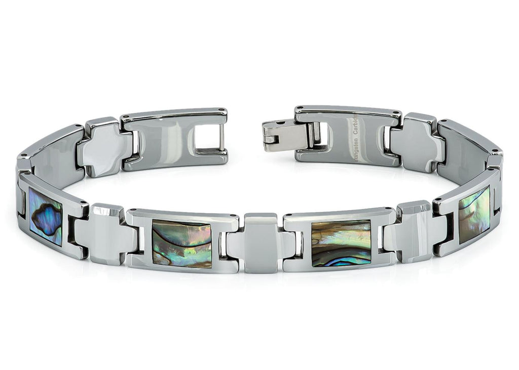 Tungsten Carbide Bracelet with Abalone Shell Inlay