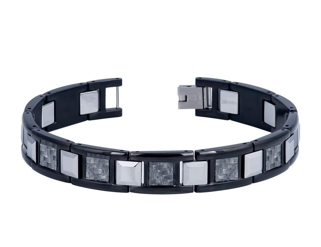 High Polished Stainless Links Tungsten Bracelet with Grey Carbon Fiber Inlay